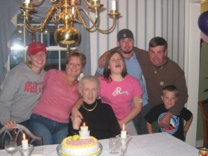 Sara Duzan (fourth from left) celebrates her birthday with her family in ...  Pictured are (from left)..., her mother Maryann, grandmother...., brother David, father Paul, and ...