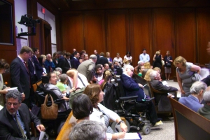 It was standing room only in Wednesday's Judiciary Committee hearing on bills regarding guardianship of persons with developmental and other disabilities
