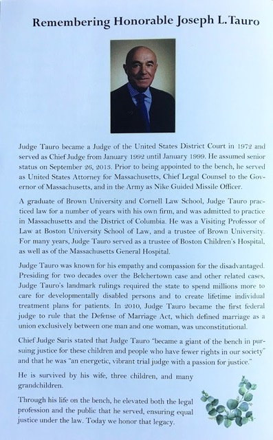 Program remembrance of Judge Tauro